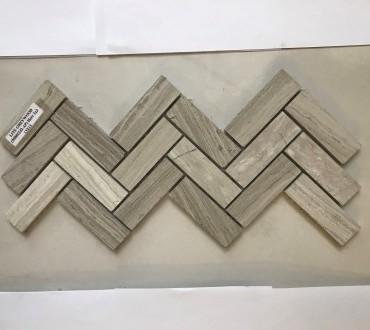MB022J2-AP Lite Grey Wood 1x3 Herringbone Mosaic