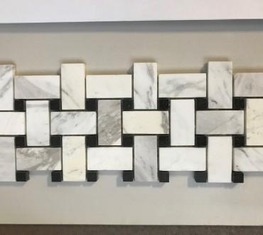 MB079A-P Carrara & Nero Basketweave Mosaic