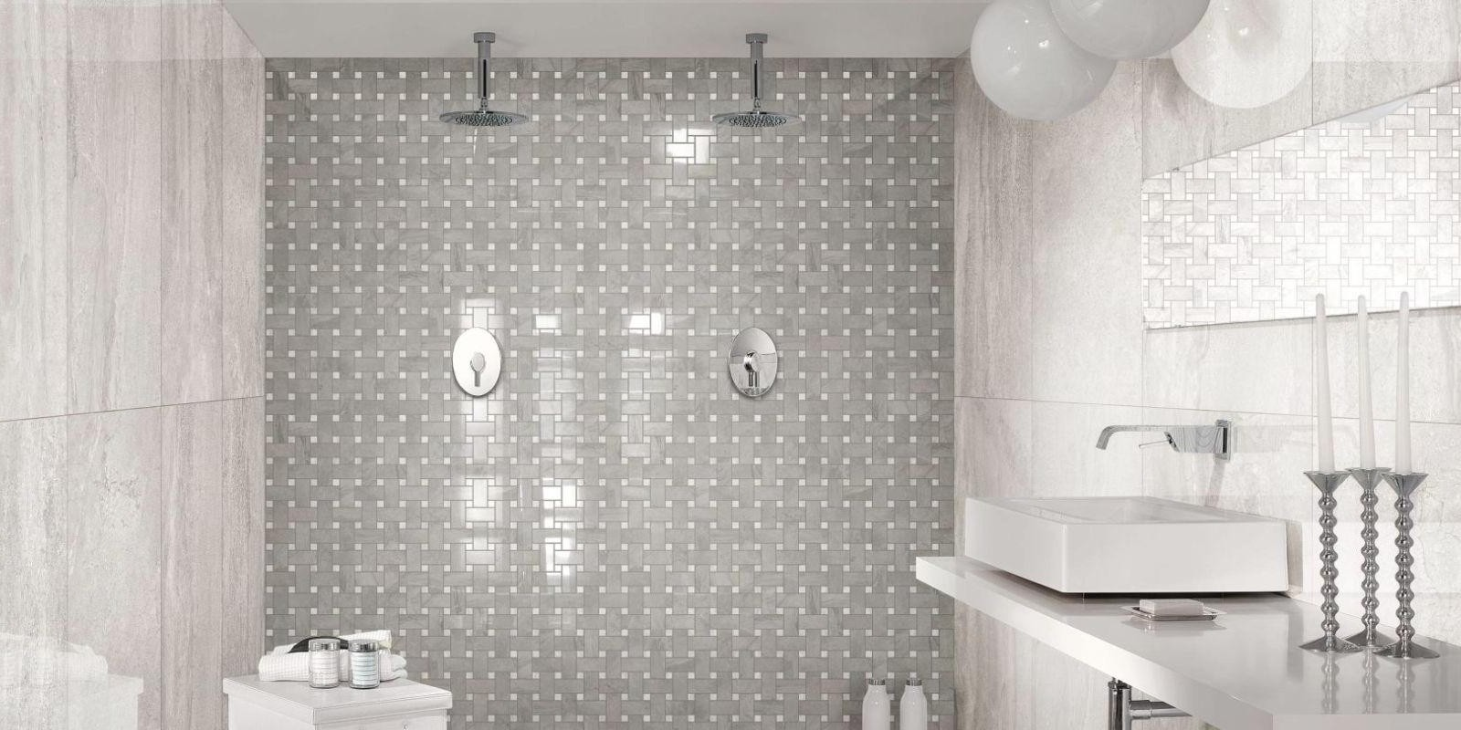 Gray porcelain tile bathroom